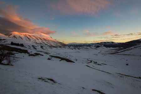 Winter sunset in mountains Stock Photo - 16905163