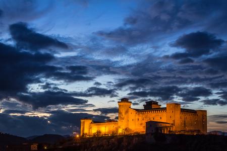 Photo of Albornoz castle in Spoleto by night