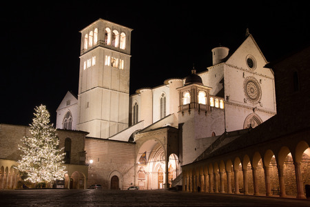 st  francis: View towards the famous Basilica of St Francis, Assisi, Italy