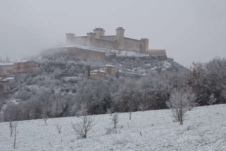 Albornoz castle of Spoleto under the snow photo