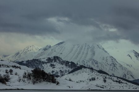 abruzzo: Image of Gran Sasso in Abruzzo covered by snow Stock Photo