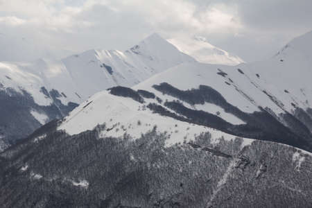 sibillini: National park of Sibillini mountain with snow
