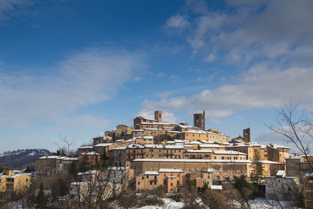 Medieval village of Sarnano in the marche region, Italy.
