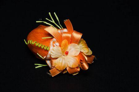 Orange easter egg with flower