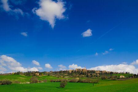 orcia: Tuscany, Pienza italian medieval village. Siena, Val d Orcia, Italy. Stock Photo