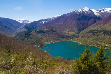 abruzzo: Panoramic view of Scanno lake in Abruzzo, Italy