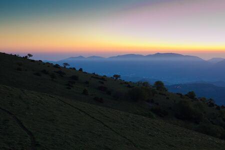 Beautiful sunrise at Subasio mountain Stock Photo