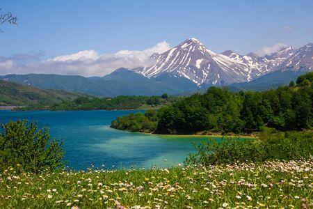 Campotosto lake in the spring season