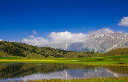 Photo of Filetto lake in the abruzzo mountains Stock Photo