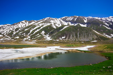 plateau of flowers: Little mountain lake in Abruzzo Stock Photo
