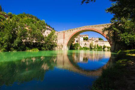 Concordia bridge of Fossombrone city Stock Photo