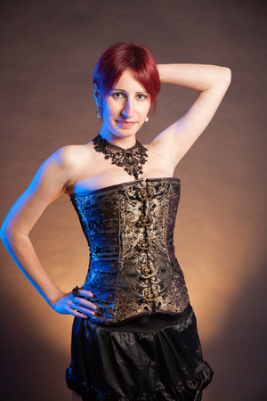 Fashion Gothic Style Model Girl Portrait Stock Photo