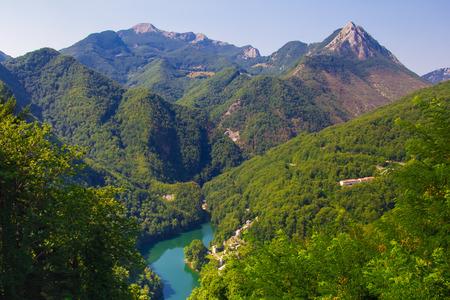 isola: Panoramic view of Isola Santa lake in Garfagnana, Tuscany - Italy Stock Photo