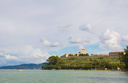 lago: The fortress of Castiglion del Lago Stock Photo