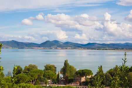 lago: Panoramic view of Trasimeno lake from Castiglion del Lago