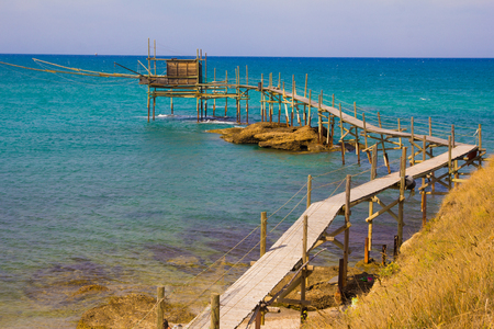 abruzzo: Photo of old Trabucco at Punta Aderci, Abruzzo Stock Photo