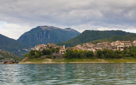 Beautiful views of Turano lake with village Colle di Tora, Lazio - Italy Stock Photo