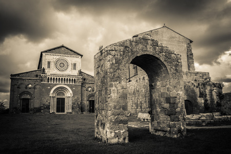 etrurian: Black and white photo of San Pietro church in the etruscan city of Tuscania, Lazio - Italy
