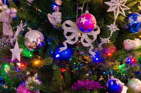 Beautiful christmas tree with colorful ornaments