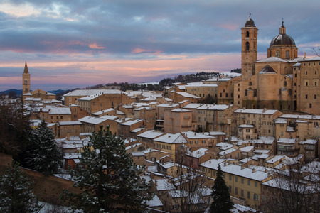 urbino: Urbino during the sunset hour. Stock Photo