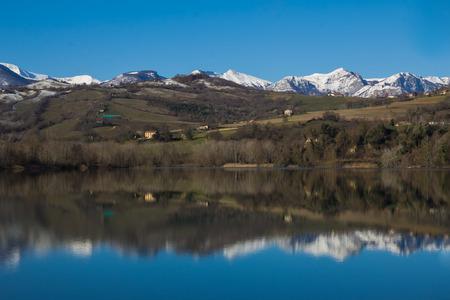 monti: Photo of San Ruffino lake in the winter season with snow, Monti Sibillini National Park - Italy.