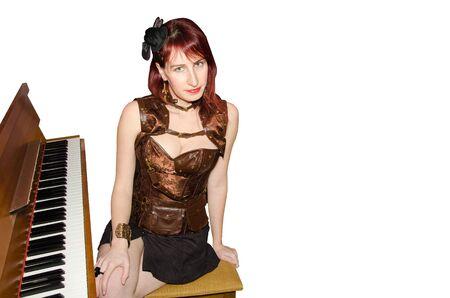 pianista: pianista de sexo femenino que se realiza en el piano Foto de archivo