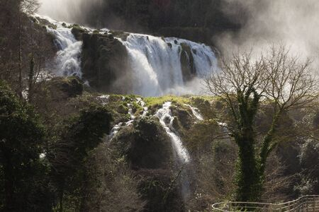 terni: Cascata delle Marmore, Umbria, Italy. Marmores Falls is a controlled-flow waterfall, used for the production of electricity. It is one of the highest in Europe. Stock Photo