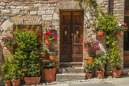 spello: beautiful floral streets of old italian village. Spello