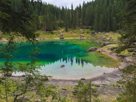 Karersee lake in the italian Dolomites