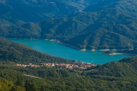 lazio: Panoramic view of Salto lake in Lazio Stock Photo