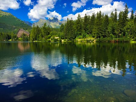 Lake Strbske Pleso with mountain on the background in Slovakia