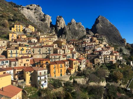 Picturesque village of Castelmezzano in Basilicata, Italy