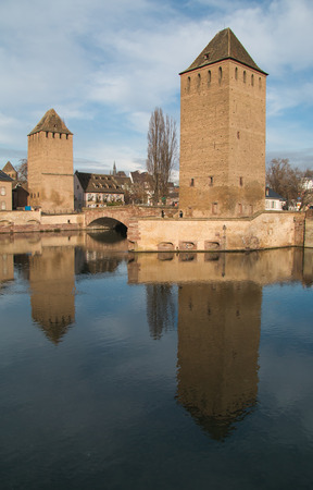 historic district: Strasbourg, medieval bridge Ponts Couverts is located in the historic district Petite France. Alsace, France. Stock Photo