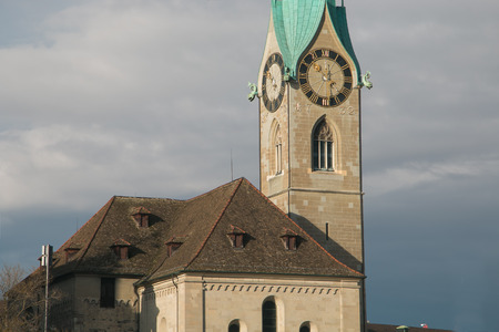 Details of the famous Fraumunster church tower of Zurich