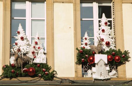 Window with winter decorations in Strasbourg also know as the capital of christmas