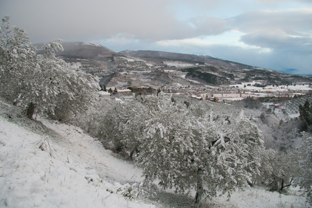 Foligno countryside covered by snow Stock Photo