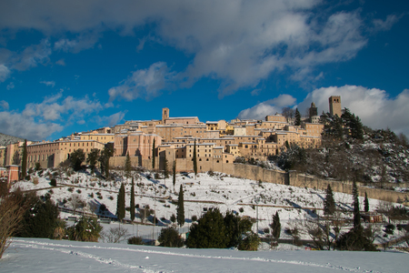 Nocera Umbra is a beautiful italian medieval village with snow in winter Editorial