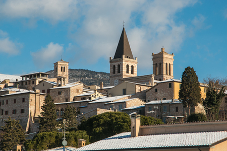 Winter view of Spello in Umbria. Beautiful medieval italian village with snow