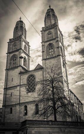 Dark view of Grossmunster gothic church in the historic center of Zurich
