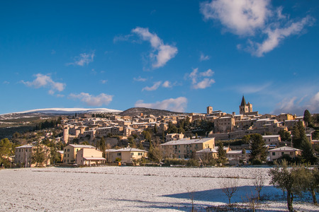 Spello and subasio mountain covered by snow