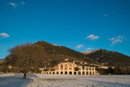 Ruins of the Roman amphitheatre of Gubbio Stock Photo