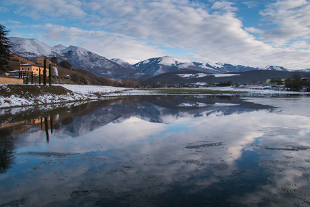 Idyllic winter landscape in the national park of Sibillini mountain