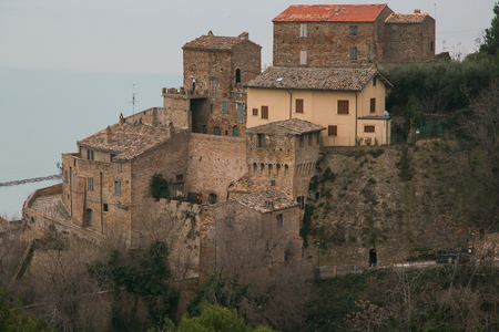Panoramic view of Grottammare medieval village in the marche region with adriatic sea in the background Zdjęcie Seryjne