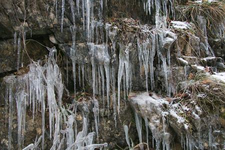 Beautiful winter ice waterfall in Italy Stock Photo