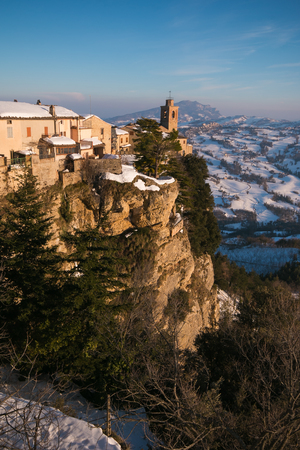 appennino: Panoramic view of Montefalcone Appennino medieval village in the Marche region, Italy