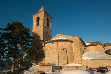 appennino: The old church in the historic center of Montefalcone Appennino Stock Photo