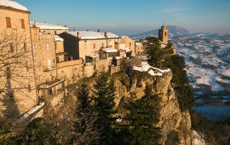 appennino: Panoramic view of Montefalcone Appennino village in the Marche region