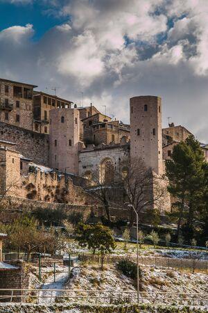 spello: Save Download Preview City gate Porta Venere and Torri di Properzio, Spello, Umbria, Italy Stock Photo