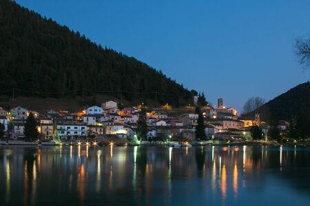 gorgeus: Piediluco medieval village at night in Umbria