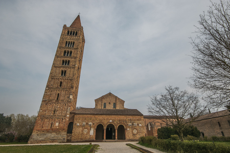 highest steeple and Benedictine abbey of the Pomposa in the Emilia Romagna in Italy Фото со стока